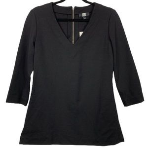 NWT Saks Fifth Avenue V-Neck Tunic Top in Black